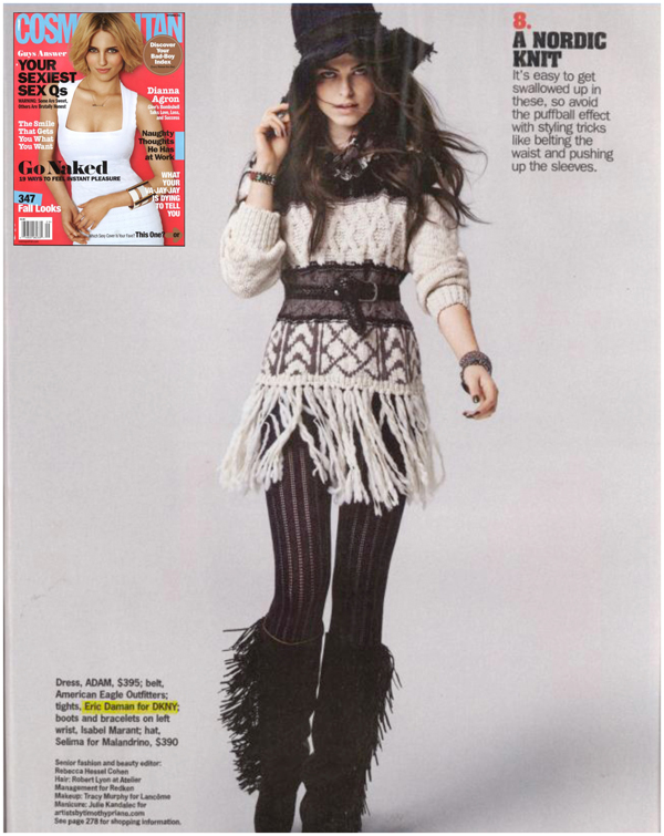 Cosmopolitan Magazine Editorial including tights by Eric Daman for DKNY