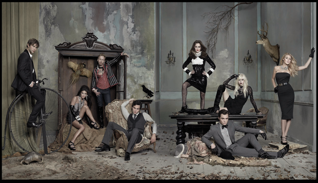 Gossip Girl Actors with Eric Daman, Chace Crawford as Nate, Jessica Zohr as Vanessa, Eric Daman as himself, Penn Badgely as Dan Humphrey, Leighton Meester as Blair Waldorf, Ed Westwick as Chuck Bass, Taylor Momsen as Jenny, Blake Lively as Serena. Photographed by Ruven Afanador.