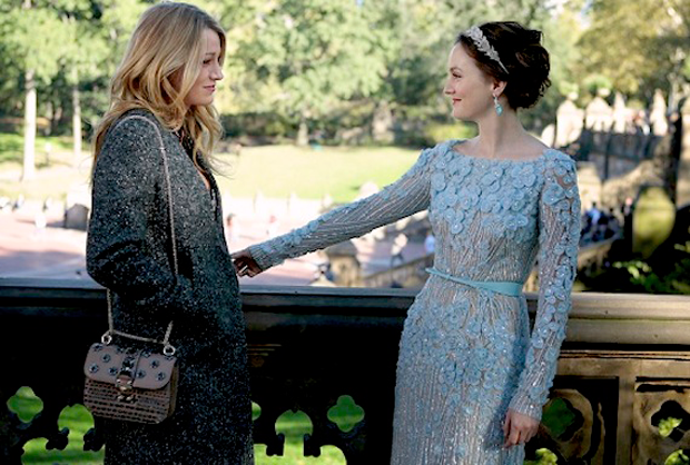 """Blake Lively (as Serena van der Woodsen) and her best frenemy Blair Waldorf (played by Leighton Meester) in Central Park moments before B's big moment. Will Serena finally find the love and happiness that only two can seemingly """"chair""""?"""