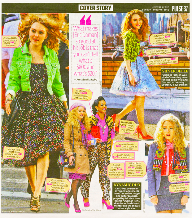 The Carrie Diaries stars Annasophia Robb, with Freema Agyeman, both shown here in a range of outfits (created by The Carrie Diaries costume designer Eric Daman) including clothes by TopShop, H&M, Collette Dinnigan, Mac Duggal Couture, Dior, Coach, Intermix, Robert Rodriguez, Eva Franco, to name a few.