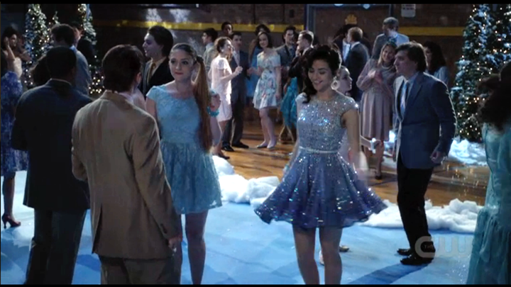 While Carrie and the Kydd kid pretended not to be staring at each other, looking through the eyes of love, from across the gym, Maggie was a dancing queen in her own private ice castle in an iridescent sheer blue sequined sleeveless ice skater dress from Asos.